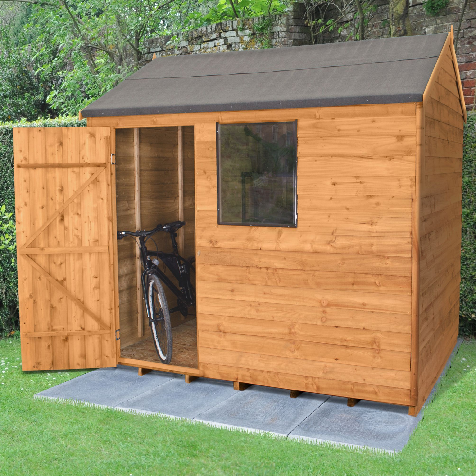 8x6 forest reverse apex overlap wooden shed base included - Garden Sheds B Q