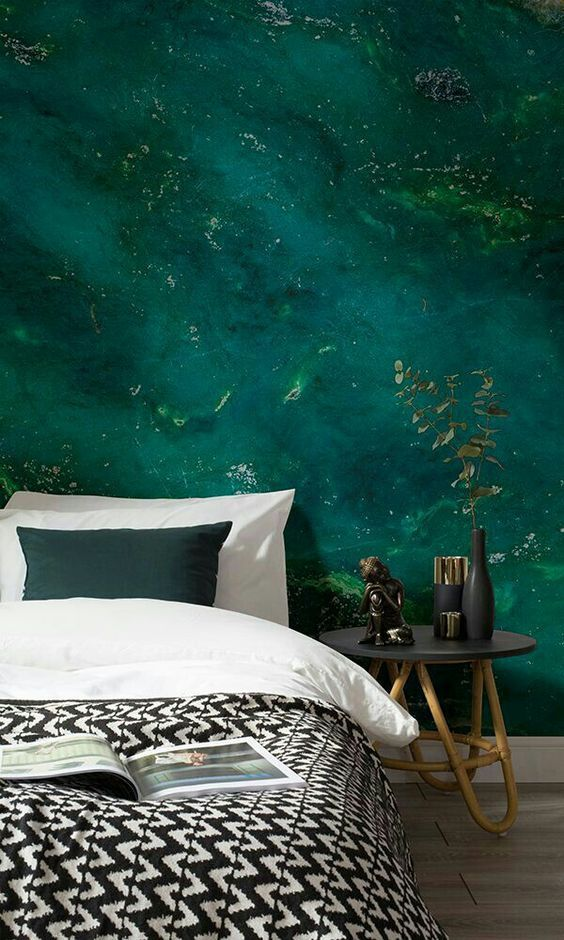 super bold emerald water wall mural for a relaxing touch