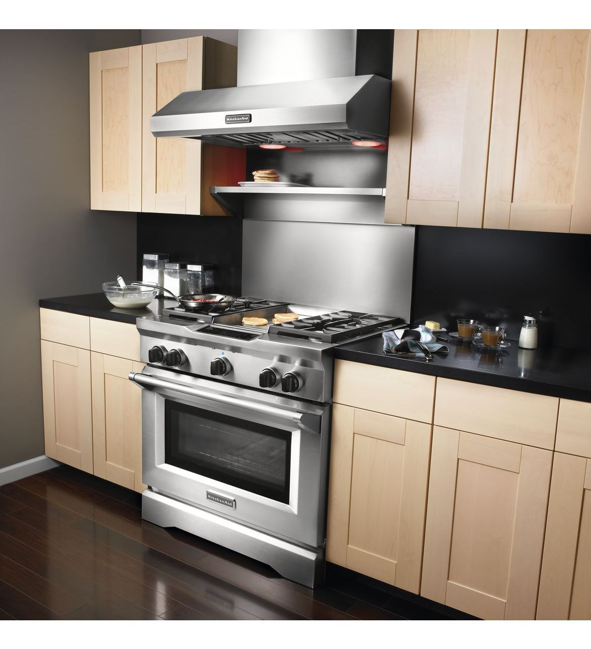 Great KITCHEN AID COMMERCIAL STYLE 36 INCH WITH BACKSPLASH, WARMING SHELF AND  COMMERCIAL STYLE VENT HOOD THIS IS THE SETUP WE ENDED UP ORDERING FOR  FARMHOUSE WE ...
