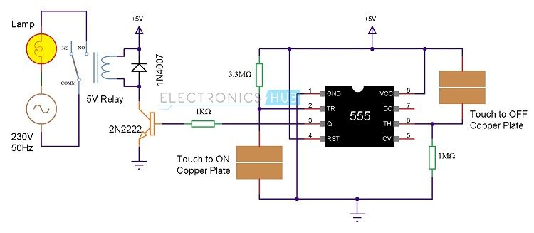 Touch On And Off Switch Circuit Diagram And Working Circuit Diagram Electronic Schematics Circuit