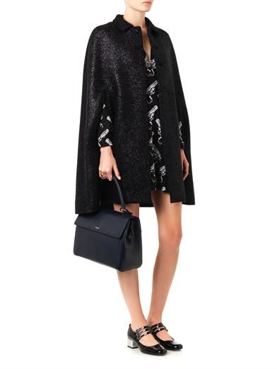 Saint Laurent Lurex-tweed collared cape