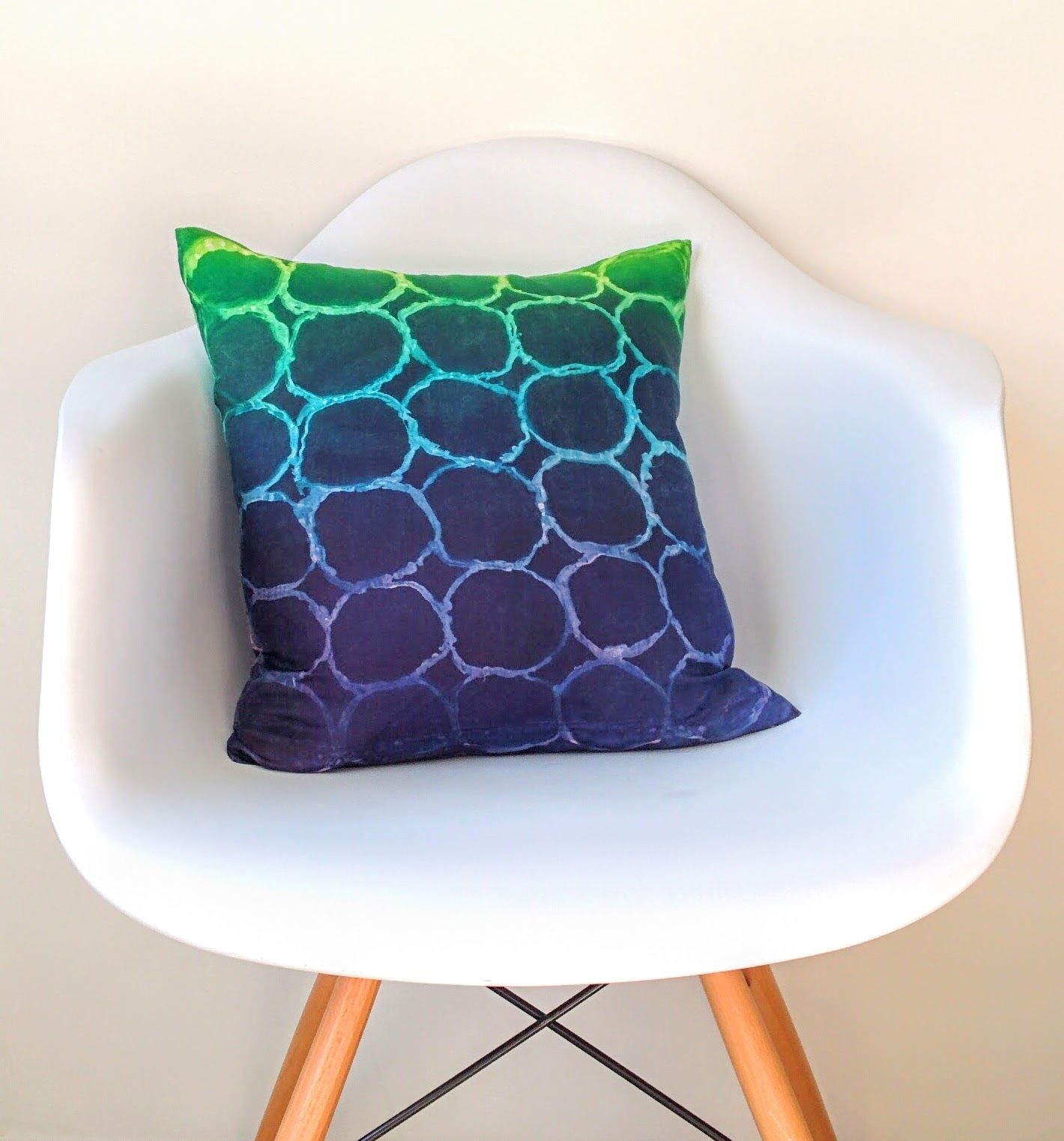 This Cool Modern Pillow Was Dyed Using A Handmade Stencil
