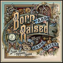 John Mayer - Born and Raised: All of this artwork was commissioned by John Mayer and custom made for his album by David Adrian Smith, a traditional letterer and ornamental glass artist. I'm amazed by the work he put into this album art! Watch this insanely amazing video to see how it was done: The Making of John Mayer's Born and Raised Album.