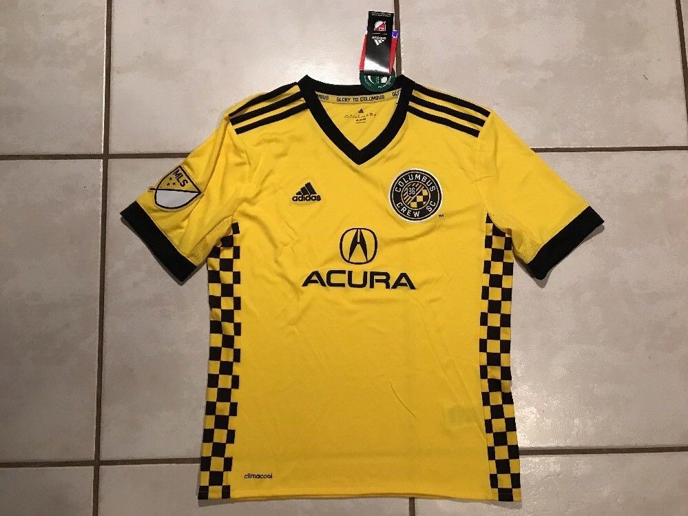 NWT ADIDAS Columbus Crew MLS 2017 YELLOW Replica Jersey Youth Large ... 799868cb5