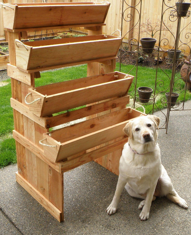 """16"""" Cedar Planters Herb Planter Box Vertical Garden"""