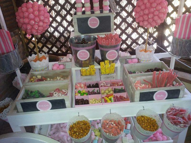 Detalle carrito chuches rosa carrito candy bar for Carritos chuches comunion