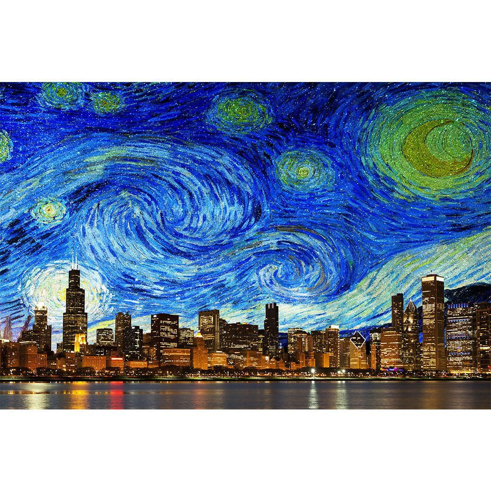 Bright starry chicago skyline stars wall graphic wall