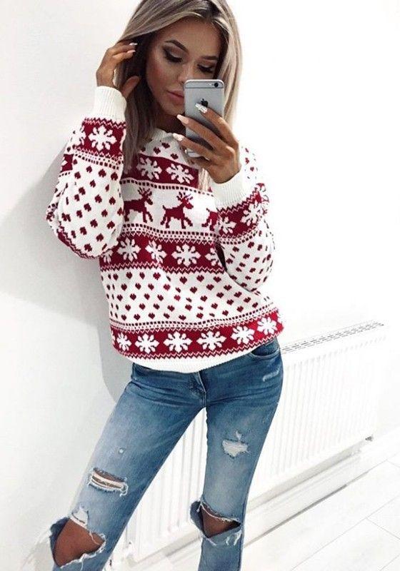 Photo of Rød julereintrykk Rund hals langermet mote julestrikket genser dame …