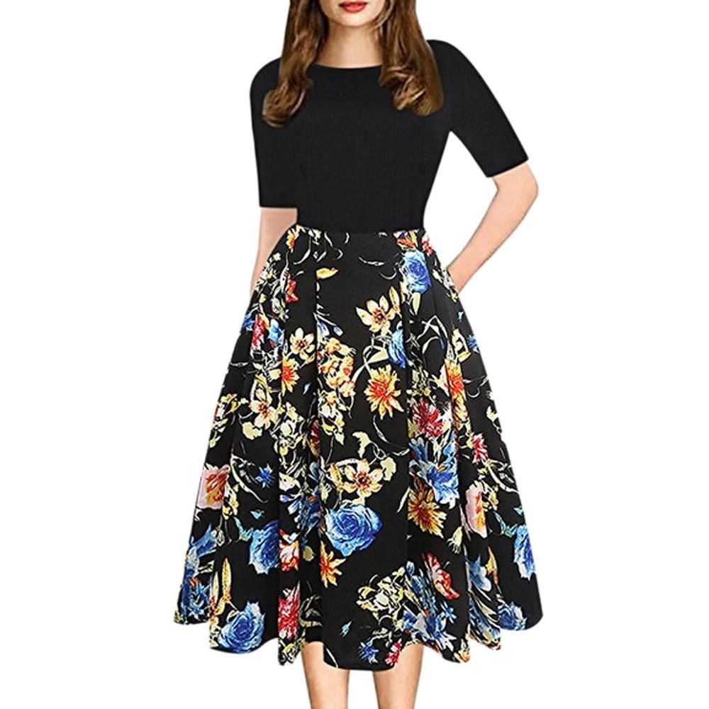 600512da6e272 Dress Women Summer Hot Sale Print Floral Black O-neck Half Sleeve A ...