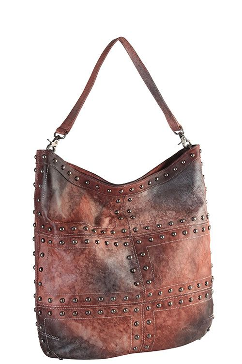 VINTAGE-DYE GRADIENT STUD GENUINE LEATHER HOBO BAG