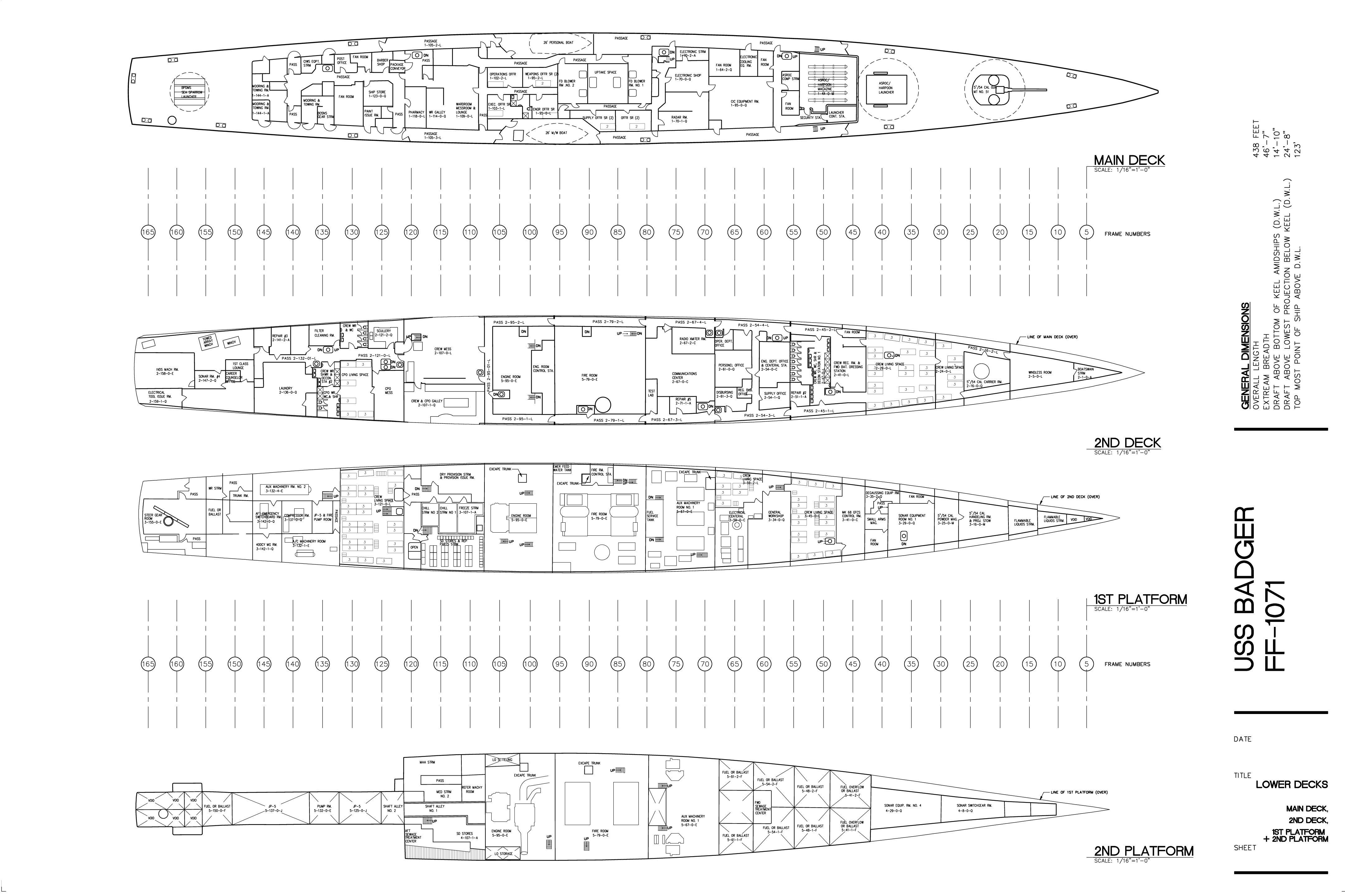 ff 1071 uss badger lower decks plan main deck and below. Black Bedroom Furniture Sets. Home Design Ideas