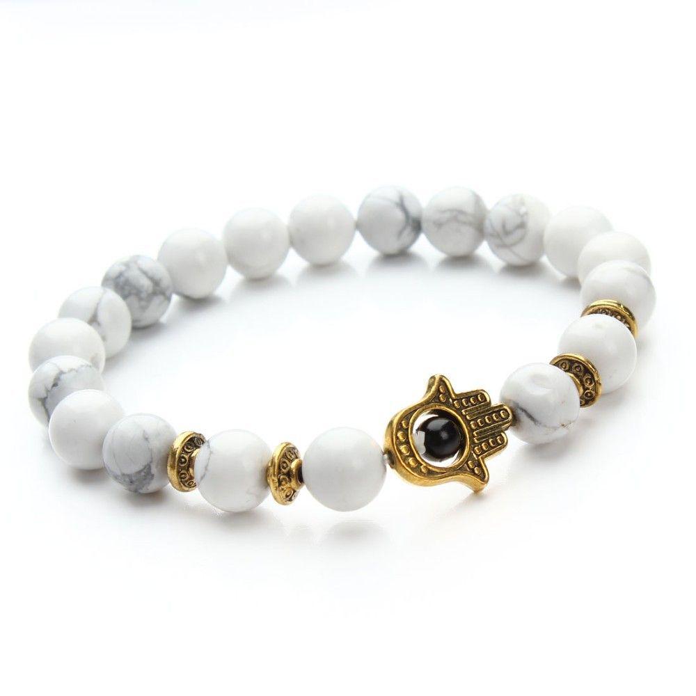 pcs nature mm black lava energy stone beads bracelet gold hamsa
