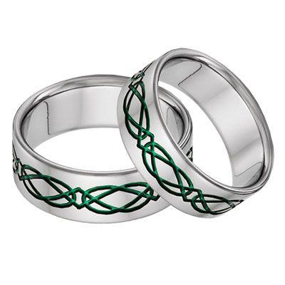 green diamond wedding band sets Titanium Celtic Wedding Band Ring