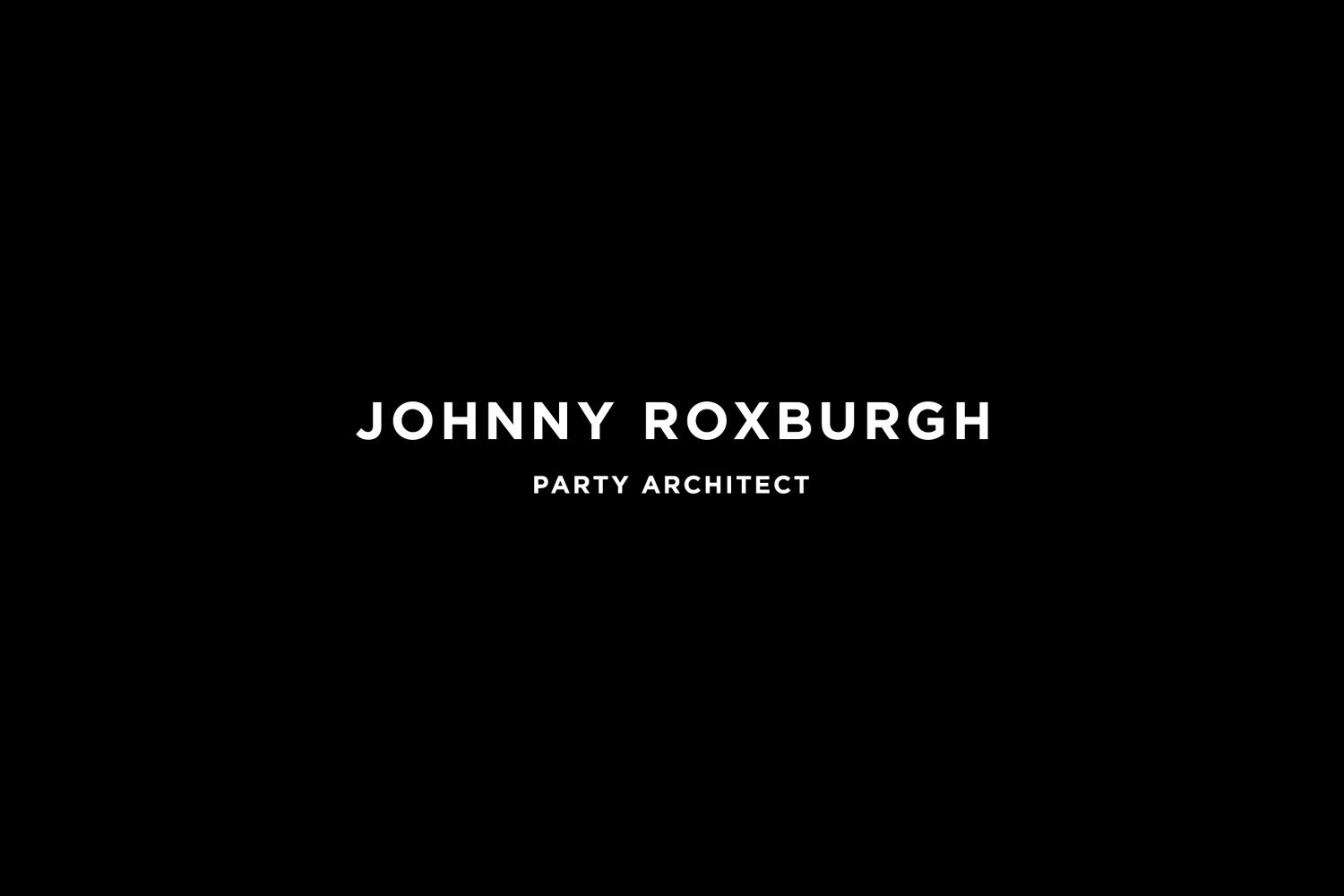 Logotype for UK party architect Johnny Roxburgh by graphic design studio Bunch