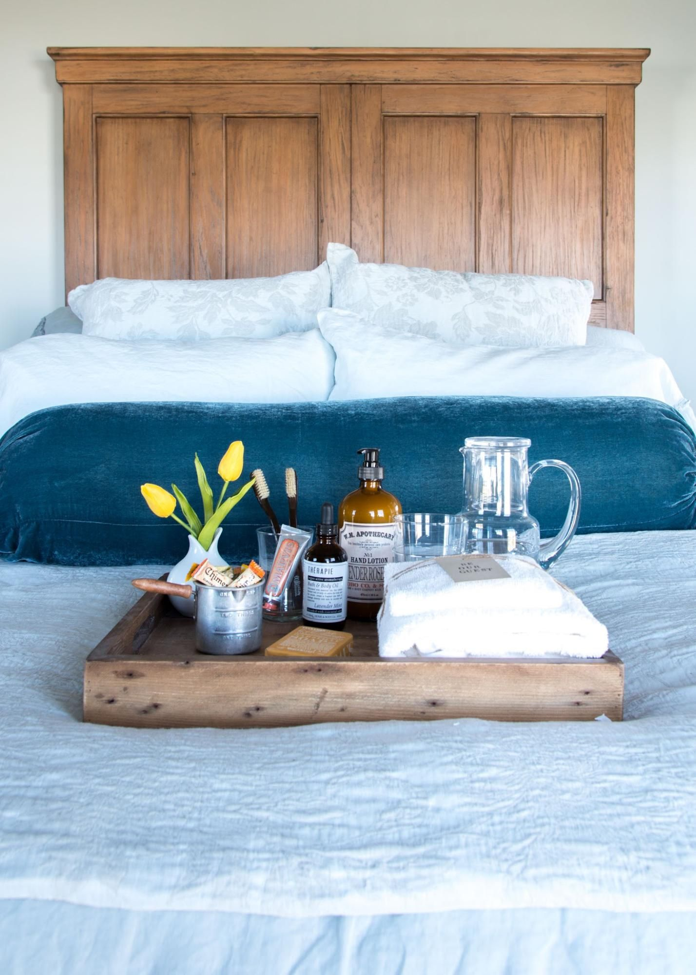 Welcome Them With A Guest Tray At Home A Blog By Joanna Gaines Guest Room Essentials House Guest Gifts Guest Room