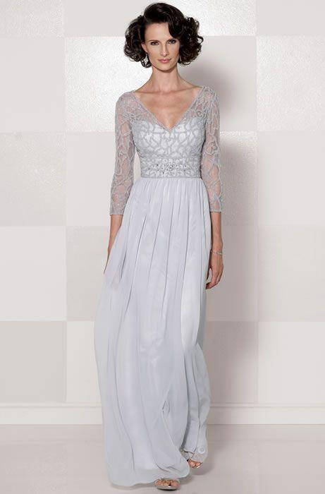 75fd96cfb20 Cameron Blake 114659 V Neck Illusion Mothers Dress