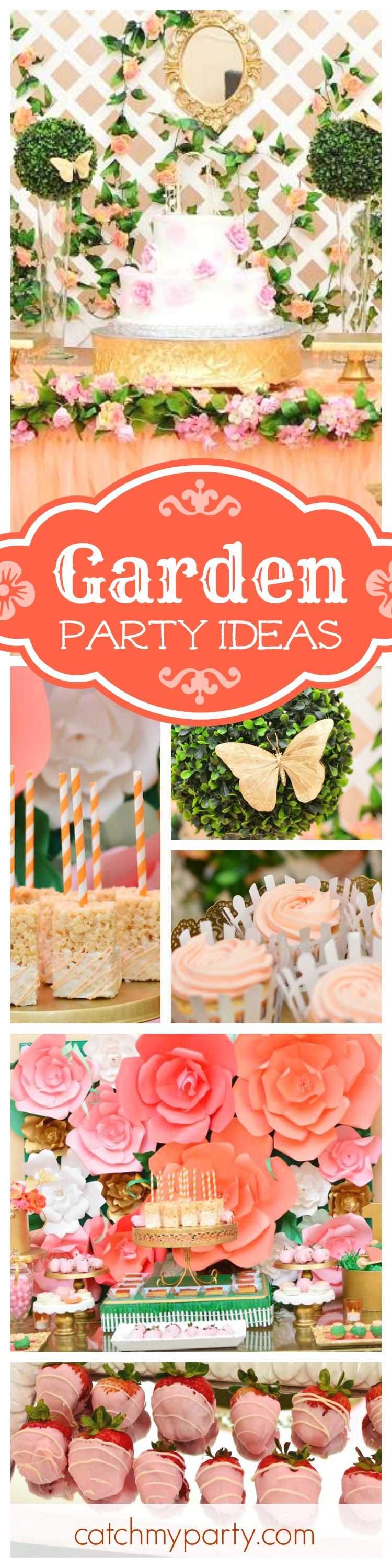 Be blown away by this beautiful Rose Garden birthday party! The backdrop and birthday cake are gorgeous! See more party ideas and share yours at CatchMyParty.com