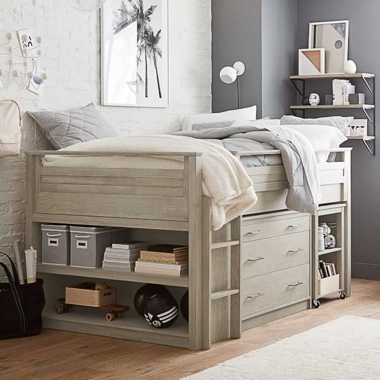 Sleep Study Low Loft Bed Set In 2020 Low Loft Beds Beds For Small Rooms Loft Bed