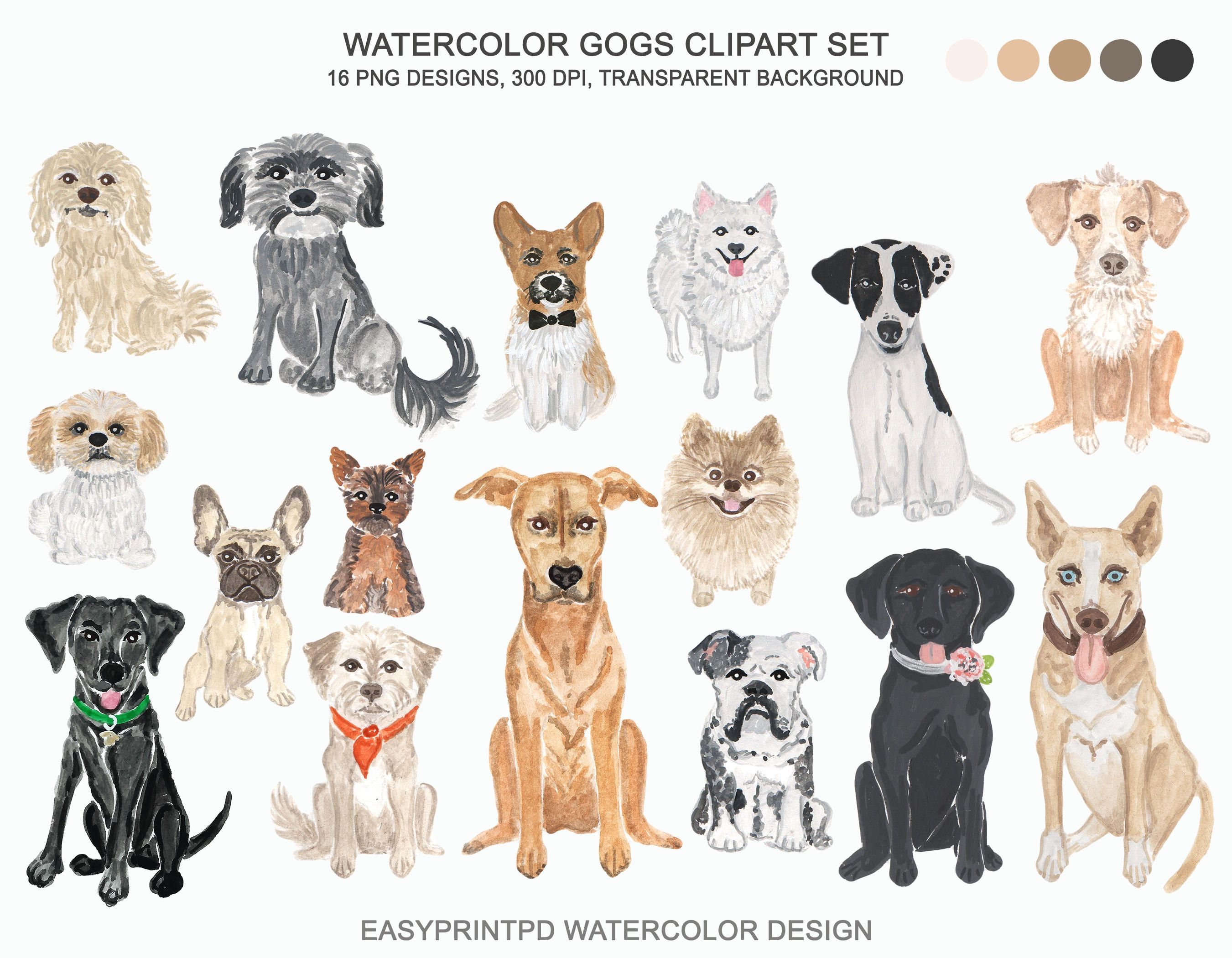 Watercolor Dogs Clipart Breed Clip Art Pet Puppies Watercolor