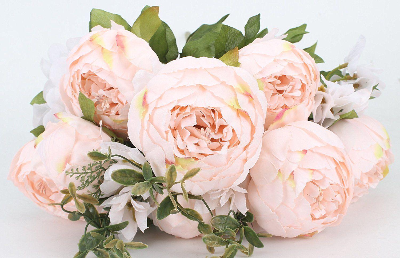 Amazon Com Duovlo Springs Flowers Artificial Silk Peony Bouquets Wedding Home Decoration Pack O Fake Flower Bouquet Silk Peonies Bouquet Peony Bouquet Wedding