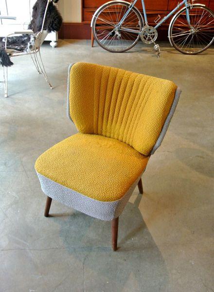 50er Jahre Cocktailsessel Gelb Grau Vintage Cocktailsessel Sessel Polsterstoffe