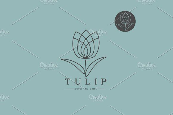 Simple Line Art Designs : Simple line art tulip bud template