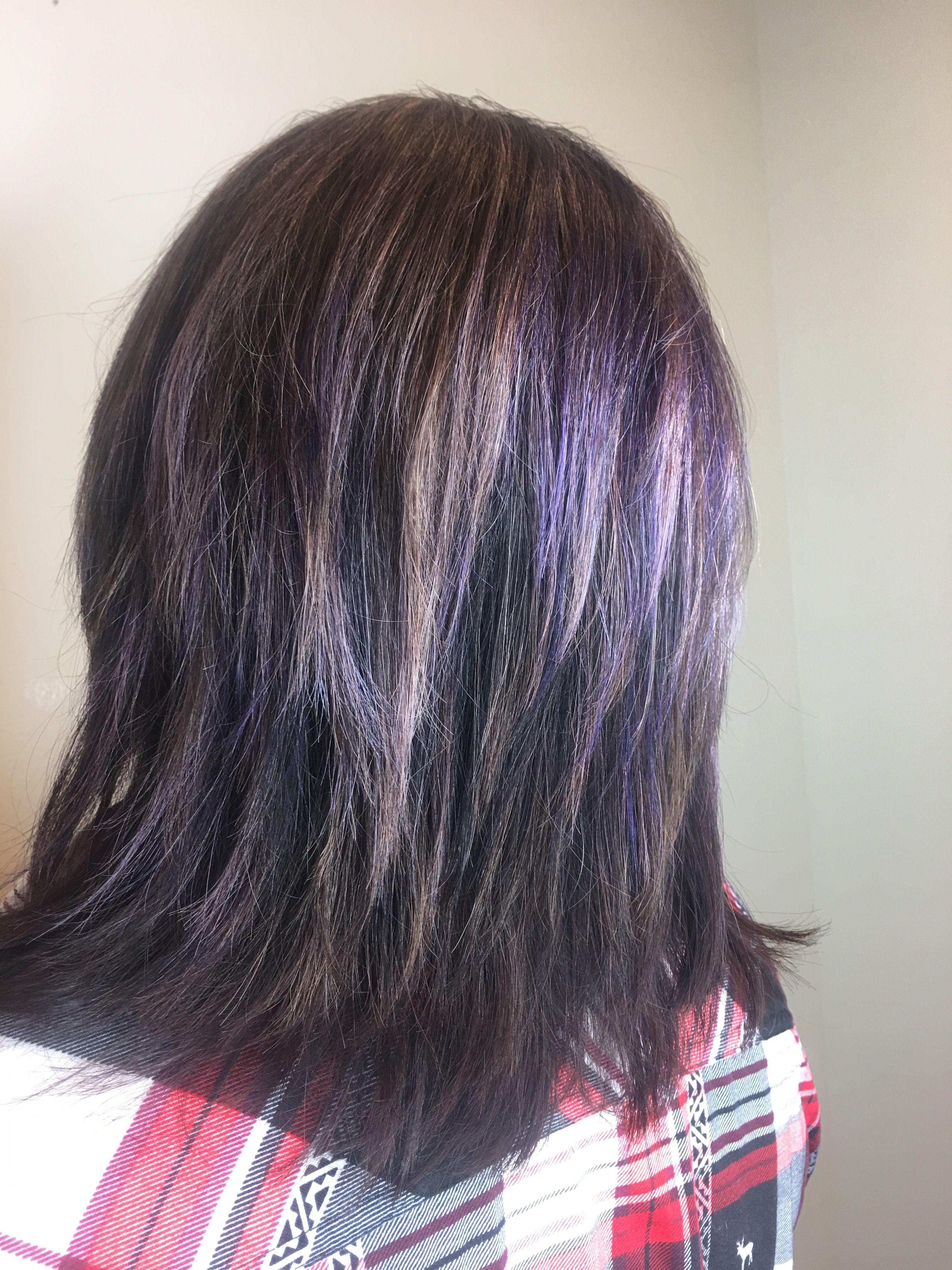 Dark Hair With Purple Highlights Kim Pinterest Purple