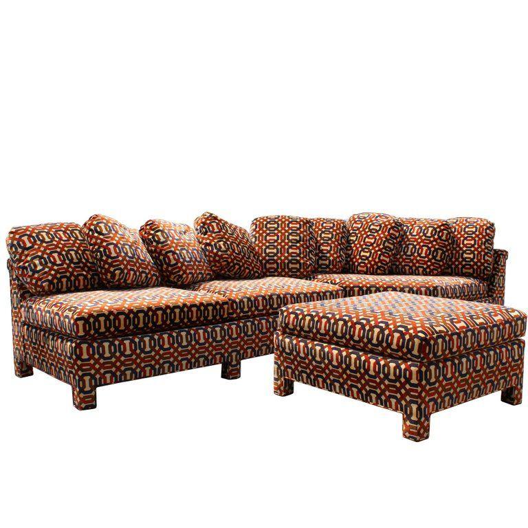 Mid Century Modern John Stuart Erwin Lambeth 2 Piece Sectional Sofa With Ottoman 1 2 Piece Sectional Sofa Sectional Sofa Ottoman Sofa