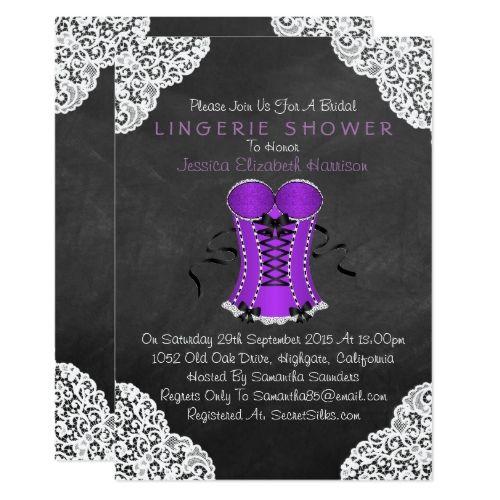 chalkboard bachelorette party Corset White Lace Chalkboard Lingerie Shower Card