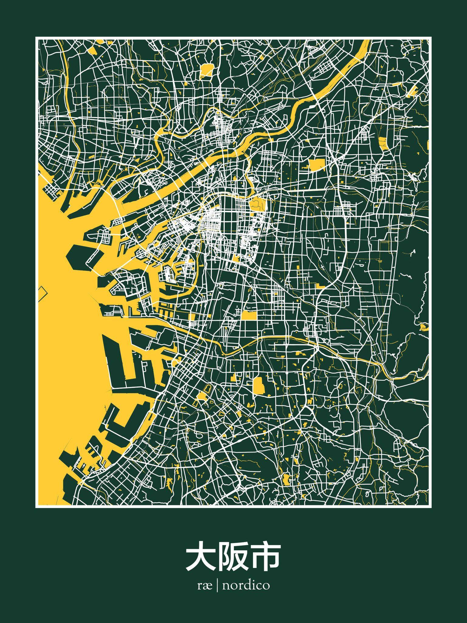 Osaka Map Print V I S U A L G R A P H I C Pinterest Print - Washington dc street map hidden symbols