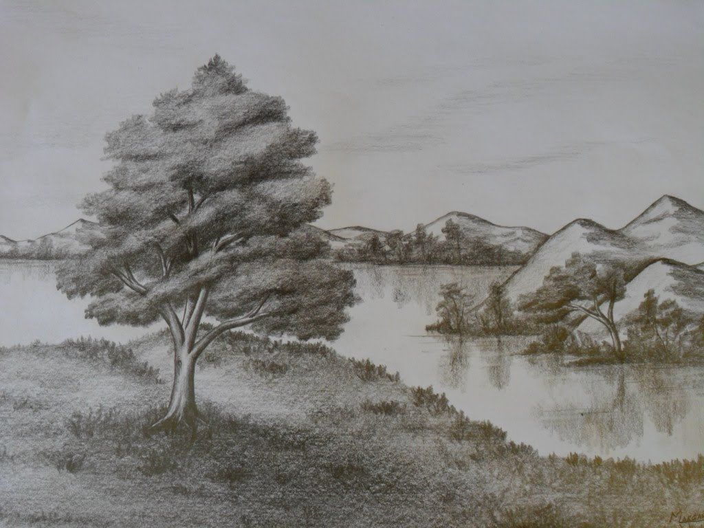 Dibujo De Paisaje Natural O Realista De La Imaginacion Al Papel A Lapiz Landscape Drawings Amazing Drawings Pencil Sketch Drawing