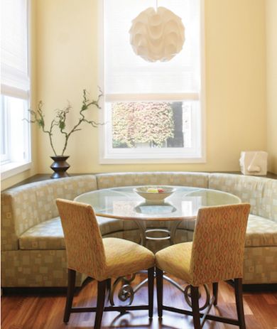 In the cozy breakfast nook, sustainable upholstery adds a further layer of interest to a banquettebuilt large enough to accommodate Gleicher and Sharkeys children and guests.