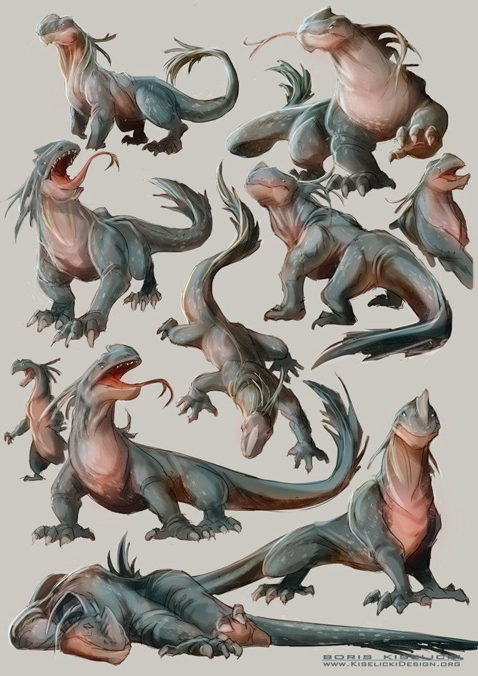 Lizard creature sketches, Boris Kiselicki on ArtStation at https://www.artstation.com/artwork/lizard-creature-sketches
