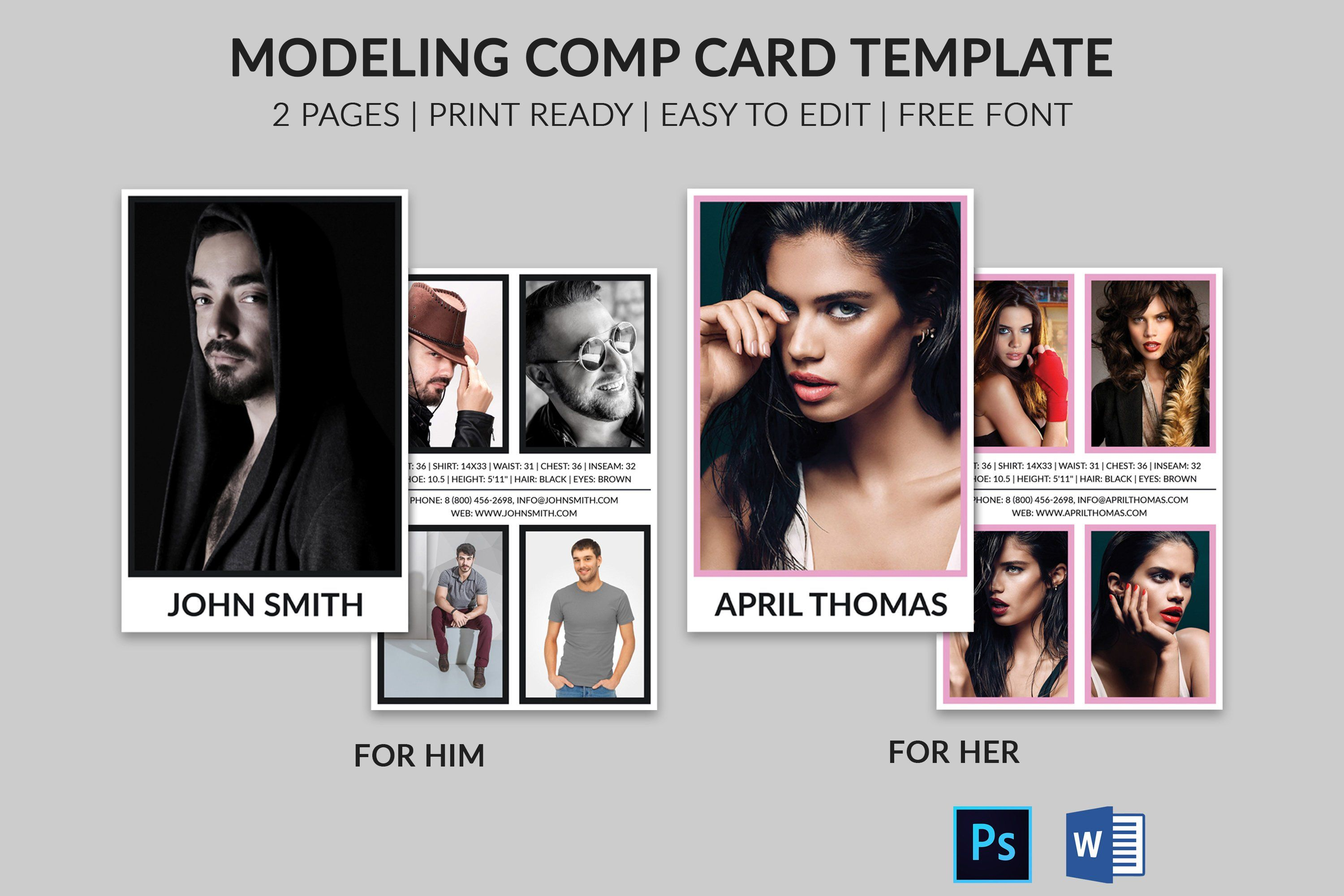 Modeling Comp Card Model Agency Zed Card Photoshop Ms Etsy Model Comp Card Card Template Card Templates Free