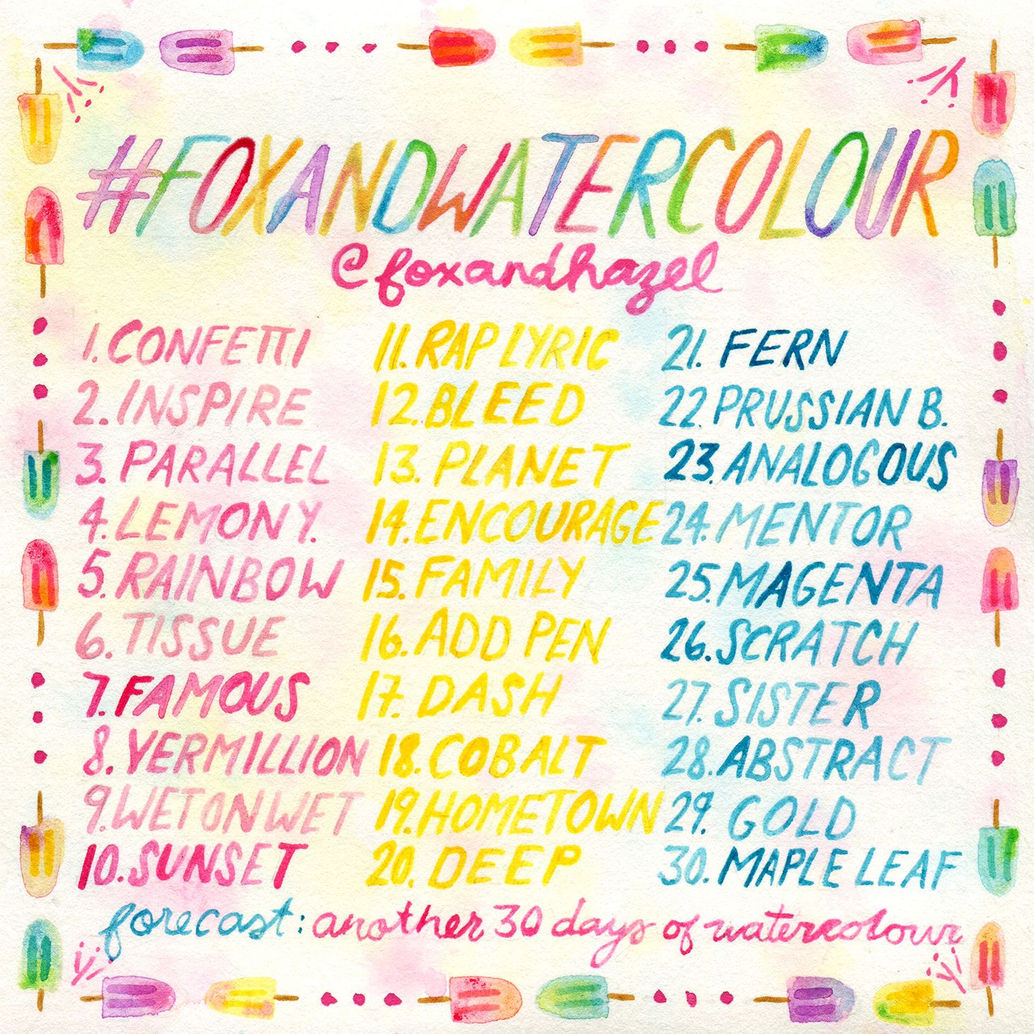 30 Day Watercolor Challenge With Free Prompts Watercolour