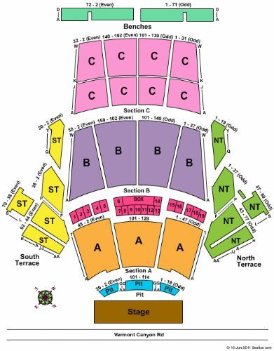 Greek Theatre Seating Chart Los Angeles Greek Theatre Ca