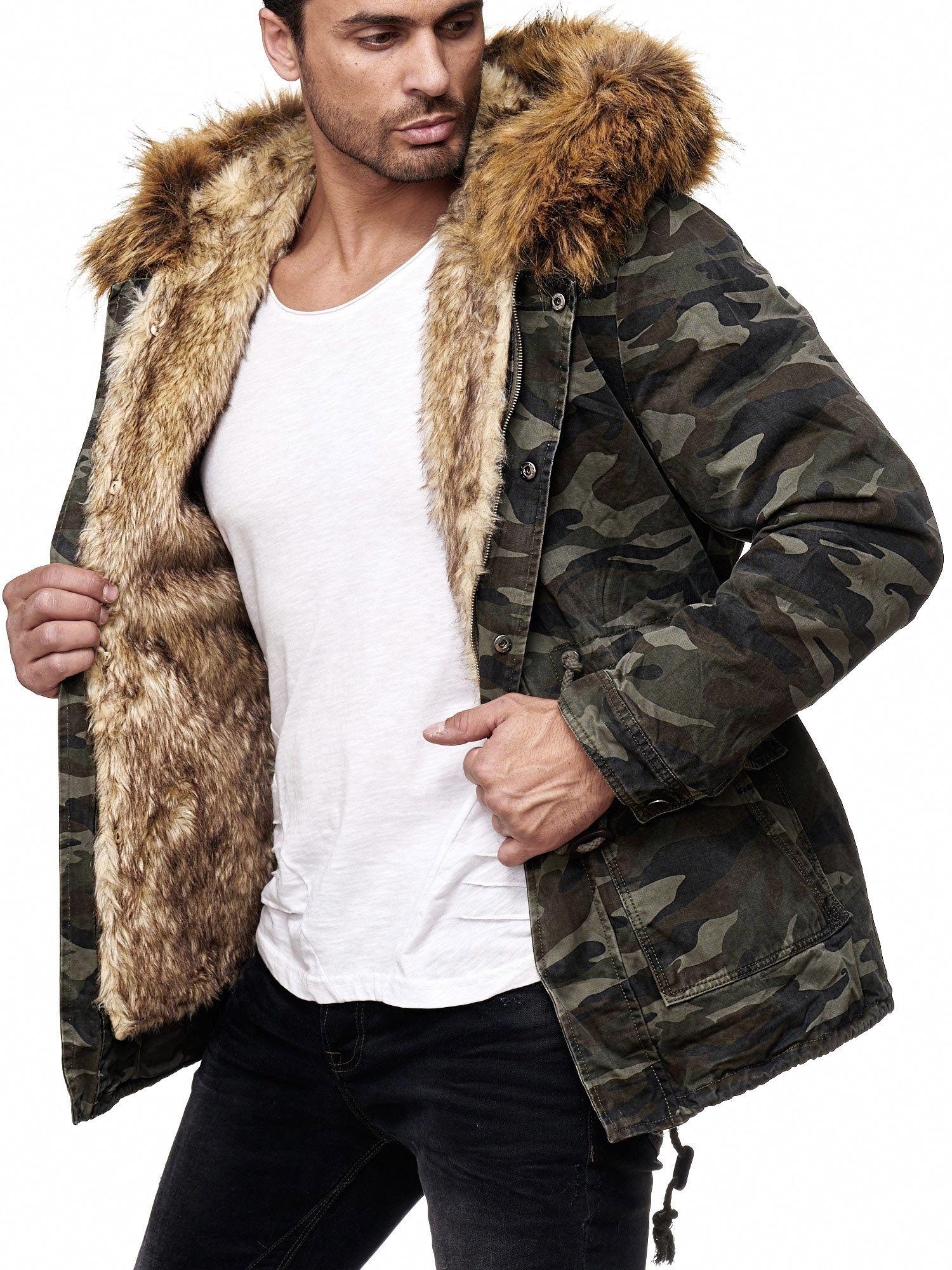Redbridge Herren Winterjacke Jacke Parka Mantel Mens Jacket Fell Fur Camouflage Parka Mit Pelz Fell Parka Felljacke Herren