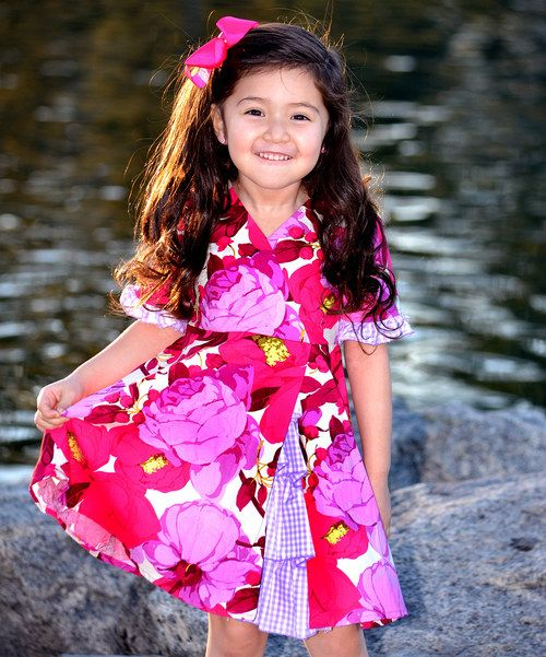 Look at this Hot Pink Flowers Vintage Ruffle Dress - Toddler