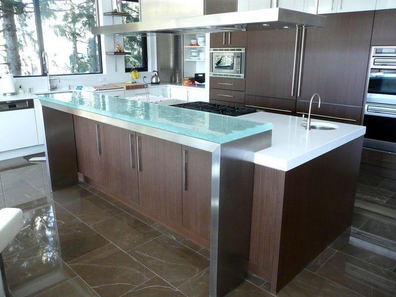 Shown In Ultra Clear Glass 1 1 2 Glass Countertops Cost Of