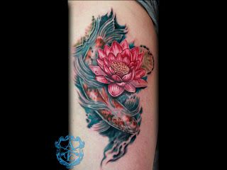 Arrows And Embers Custom Tattooing Lotus Flower With Koi Fish Tattoo Done By Sean Ambrose At Ar Koi Fish Tattoo Meaning Koi Fish Tattoo Flower Tattoo Meanings