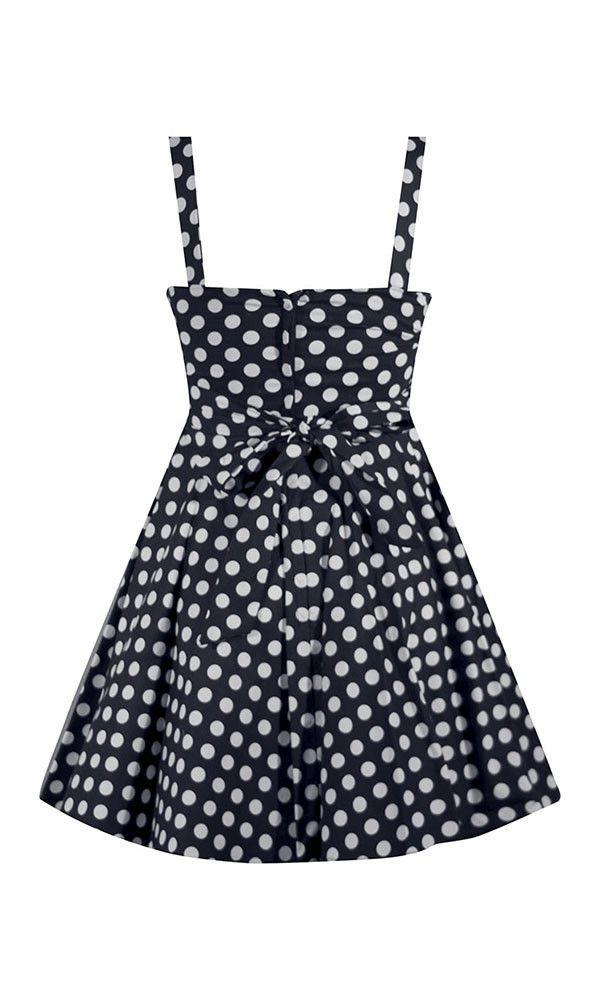 Polka Dot Swing Dress - Navy