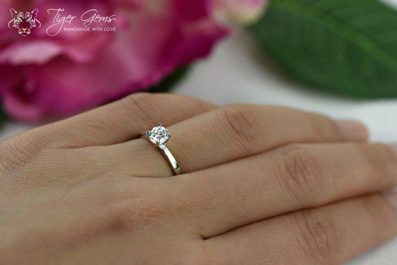 1 2 Carat Engagement Ring Classic Solitaire Ring Man Made Diamond Simulant Classic Engagement Ring Solitaire Classic Engagement Rings Prong Engagement Rings