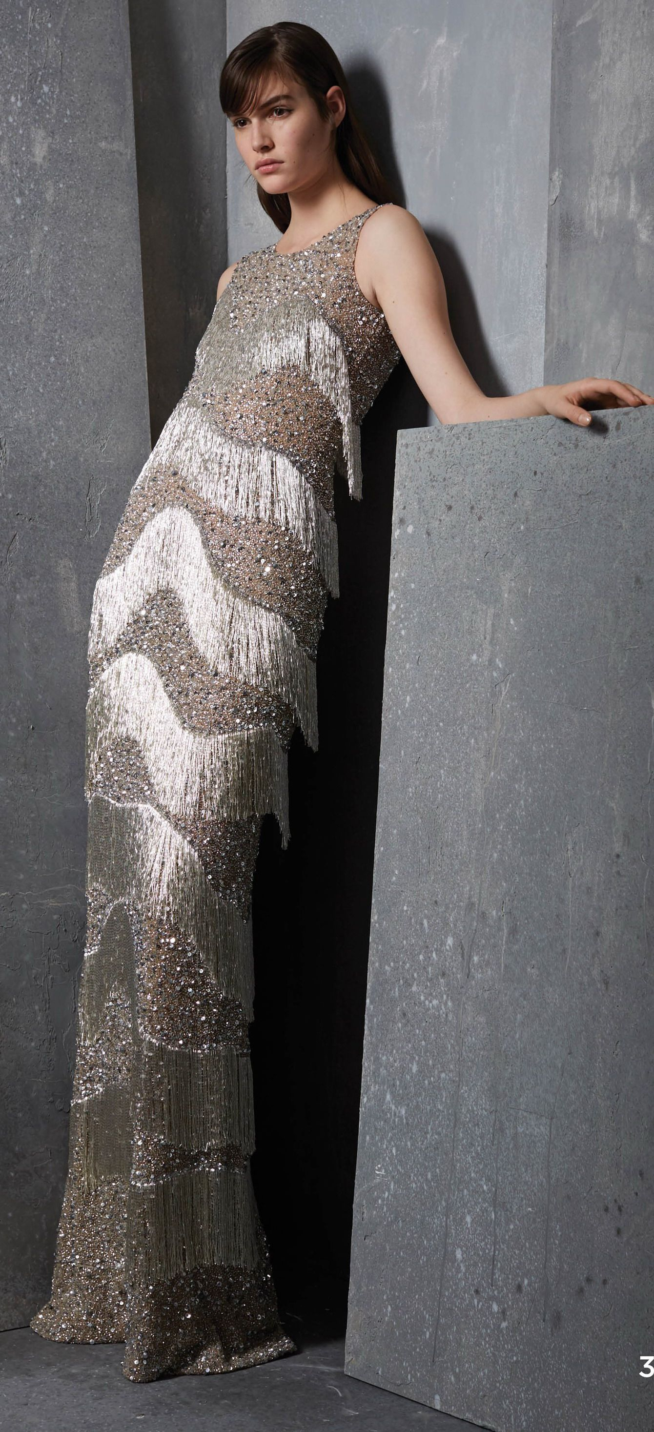 Michael Kors Collection Prefall 2017 Silver Fringe Evening Gown ...