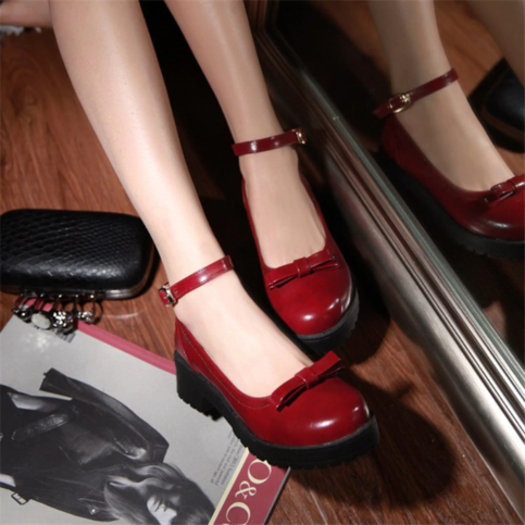 Retro Harajuku Ankle Strap Thick Heels Shoes from