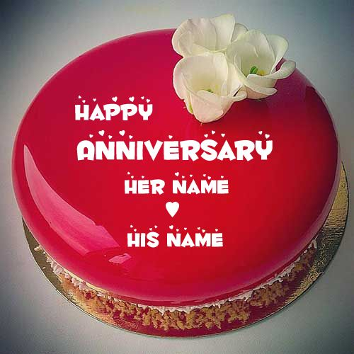 Happy Anniversary Mirror Glass Cake With Couple Name Birthday And