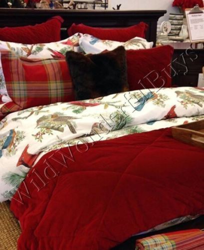 pottery barn winter fauna duvet cover king 2 king shams red holiday blue bird