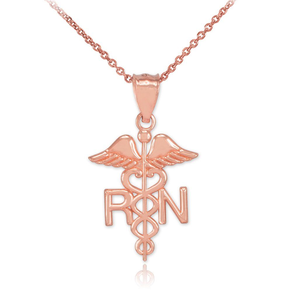 Polished 10k Rose Gold Caduceus Rn Charm Registered Nurse Pendant Necklace Pricing Jewelry Necklaces With Meaning Nurse Jewelry