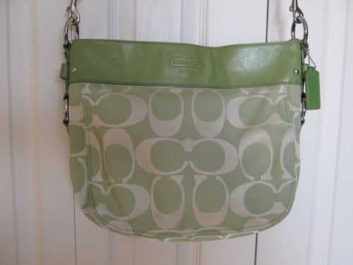 313e29c7e8 Coach-Leather-amp-Signature-Green-Canvas-Handbag-Purse-Shoulderbag ...