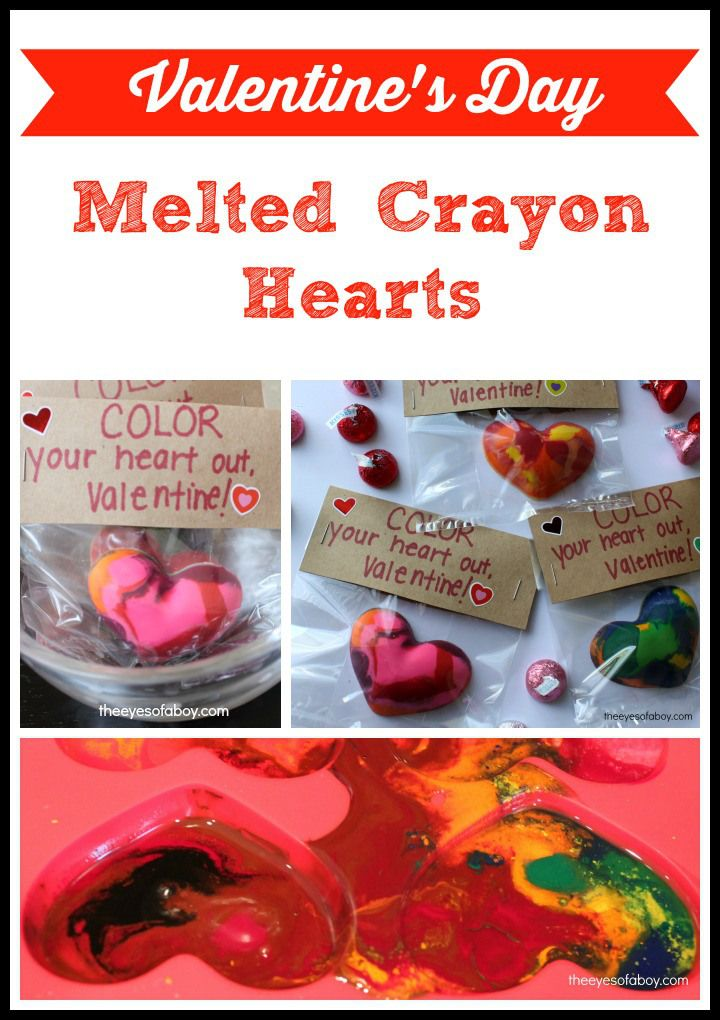 Valentine's Day Melted Crayon Hearts - easy DIY card craft for kids and preschoolers - from The Eyes of a Boy #crayonheart