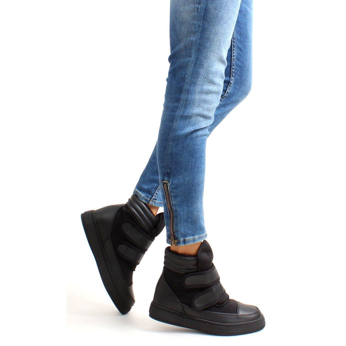 Sportowe Damskie Obuwiedamskie Czarne Ocieplane Sneakersy Z Paskami Gf Bk 4 Black Obuwie Damskie Fisherman Sandal Shoes Sneakers